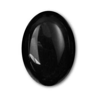 Cabochon, Ø 13X18 mm, Edelstein (Obsidian), oval Obsidian