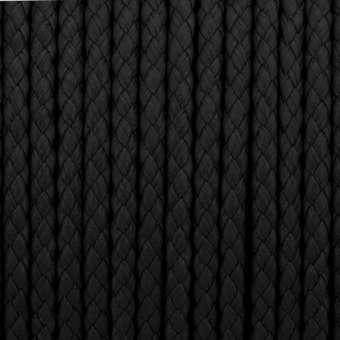 Geflochtenes Kunstlederband, 100cm, 5mm breit, schwarz schwarz