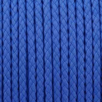 Geflochtenes Kunstlederband (100cm), 5mm breit, rund, jeansblau jeansblau