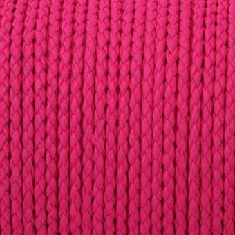 Geflochtenes Kunstlederband (100cm), 3mm breit, rund, pink pink