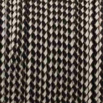 Geflochtenes Lederband (50cm), 3mm breit, schwarz-weiß schwarz-weiß