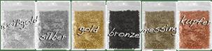 Quetschperlen in Silber und Gold